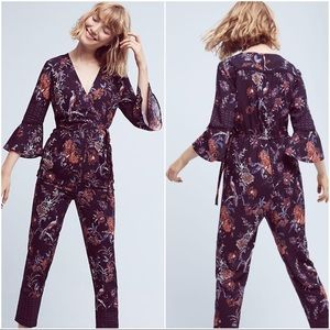 Anthropologie Maeve Jumpsuit with ruffle sleeves